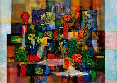 03 - Lebendige Formen (hinter altem Mauerwerk) - Mischtechnik auf Leinwand - 100 x 90 cm