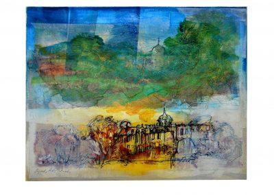 06 - Schloß Belvedere - Parklandschaft - Mischtechnik auf Papier - Bildmaß 45,5 x 56 cm - Papiermaß 49,5 x 58 cm