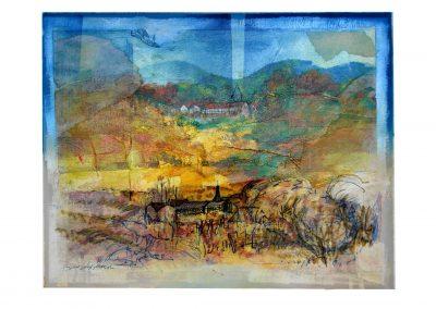 08 - Fachwerk in der Landschaft - Mischtechnik auf Papier - Bildmaß 45 x 56 cm - Papiermaß 58 x 70 cm