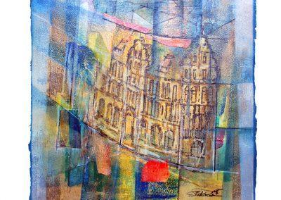 11 - Häuserzeile nach dem Regen - Acryl und Tempera auf Papier - 39 x 48 cm