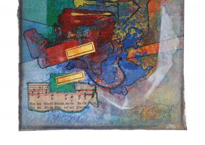 13 - Zu einem alten Liederbuch I - Mischtechnik auf Papier - Bildmaß 16 x 16 cm - Papiermaß 31 x 20 cm