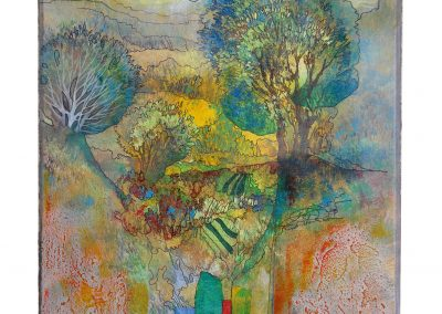 19 - In sommerlichen Gärten - Mischtechnik auf Papier - Bildmaß 44,5 x 40 cm - Papiermaß 60,5 x 48 cm
