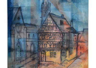22 - Altes Fachwerkhaus in Arnstadt - Mischtechnik auf Papier - Bildmaß 43 x 33 cm - Papiermaß 49 x 39 cm