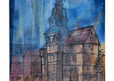 24 - Rathaus zu Eisenach - Mischtechnik auf Papier - Bildmaß 44 x 34 cm - Papiermaß 50 x 40 cm