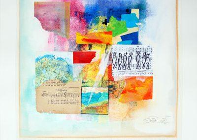 28 - Vogelfrühling - Unikatmappe - Zu einem alten Liederbuch - Acryl und Tempera auf Papier - 42 x 42 cm