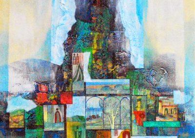 31 - Expressionen zu Verdis Opern - Acryl, Collage auf Leinwand - 95 x 70 cm