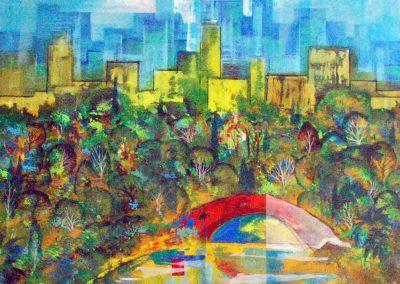 34 - Stadtpark mit roter Bruecke - Acryl auf Leinwand - 100 x 90 cm