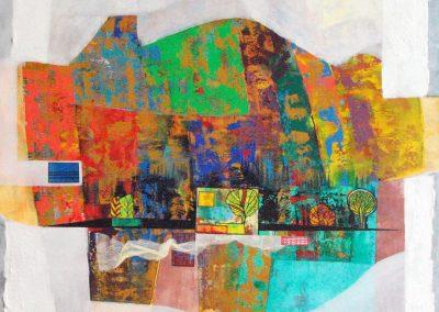 36 - Farbsinfonie in 6 Saetzen von Baum - Acryl auf Leinwand - 100 x 90 cm