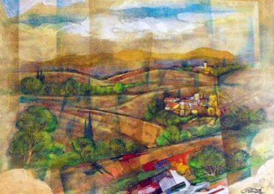 39 - Verdilandschaften, Sommer in der Toskana - Acryl auf Leinwand - 80 x 100 cm