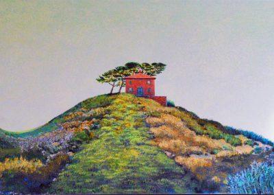 Mediterrane Landschaft mit Haus - Acryl auf Leinwand - 60 x 120 cm