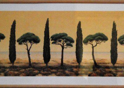 Pinien und Zypressen - Siebdruck - 45 x 110 cm