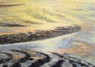 Untiefen Watt (ockergelb) - Acryl auf Leinwand - 80 x 80 cm